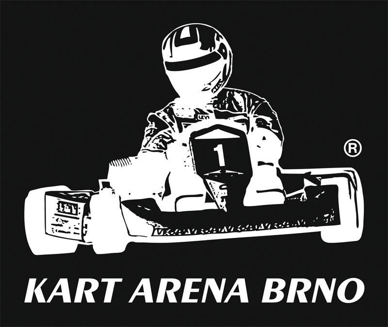 Černobílá negativní verze logotypu KART ARENA BRNO